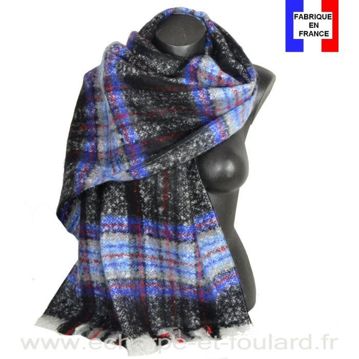 Châle mohair écossais bleu-noir fabriqué en France