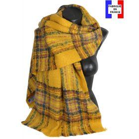 Châle mohair écossais jaune fabriqué en France