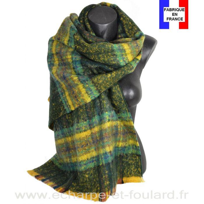 Châle mohair écossais vert fabriqué en France