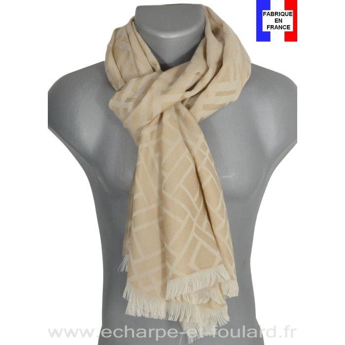 Echarpe mérinos Louis beige Made in France