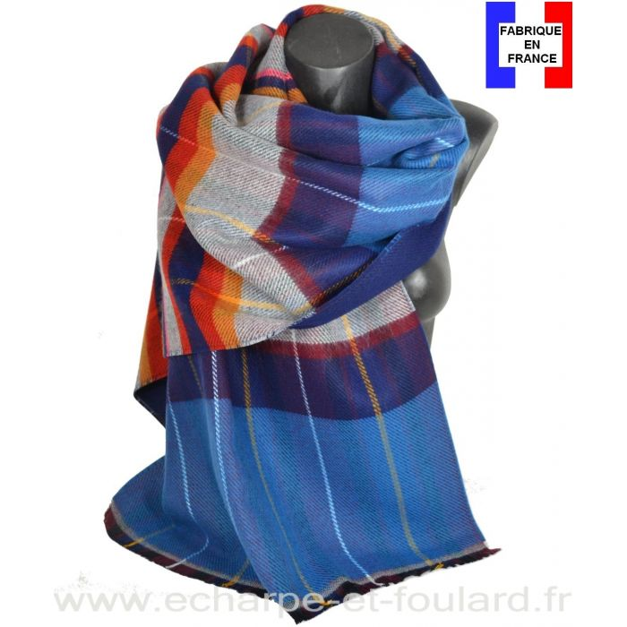 Châle Energie bleu fabriqué en France