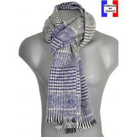Echarpe Alpaga tartan bleu made in France