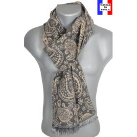 Echarpe laine cachemire grise Cachou made in France