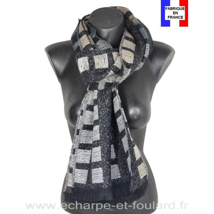 Echarpe laine cachemire Caméléon noire made in France