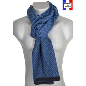 Echarpe laine cachemire bleue Cactus made in France