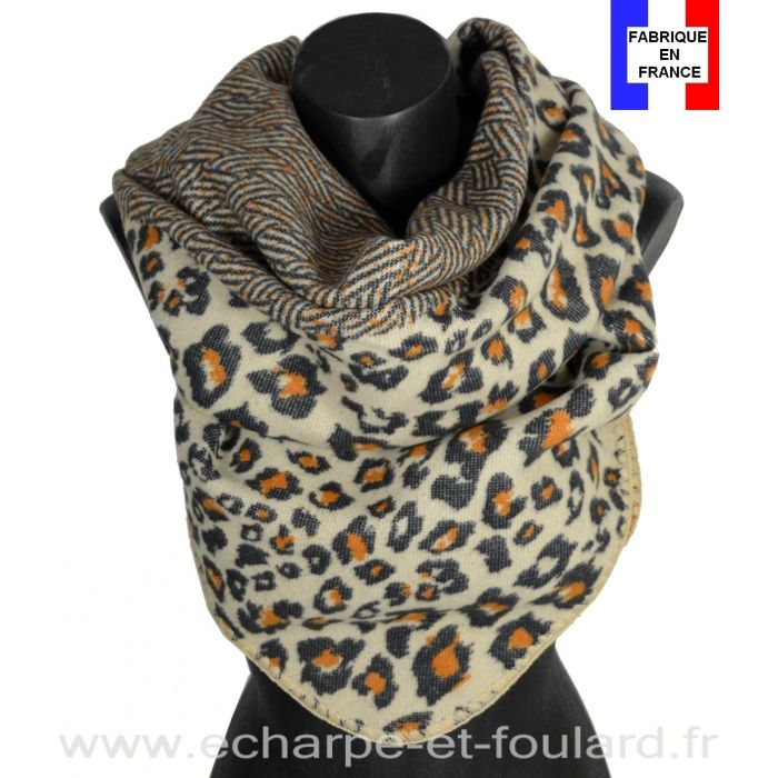 Châle carré Avatar beige made in France