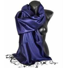 Etole en soie bleu-nuit et noir