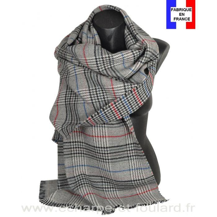 Châle laine et cachemire Cabri gris et rouge