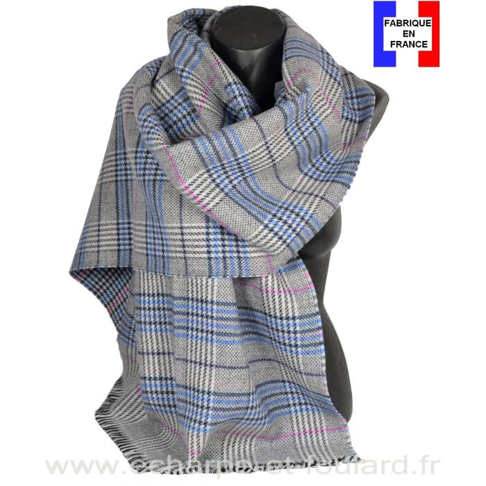 Châle laine et cachemire Cabri gris et bleu