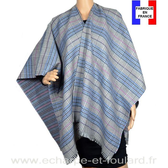 Poncho laine et cachemire Cabri gris et bleu