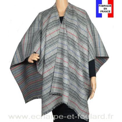 Poncho laine et cachemire Cabri gris et rouge