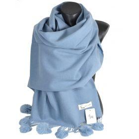 Châle laine avec pompon en lapin bleu ciel