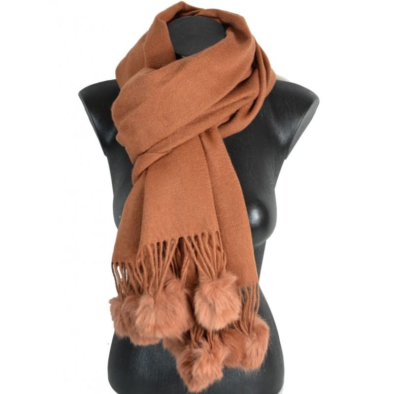 Châle laine avec pompon en lapin camel