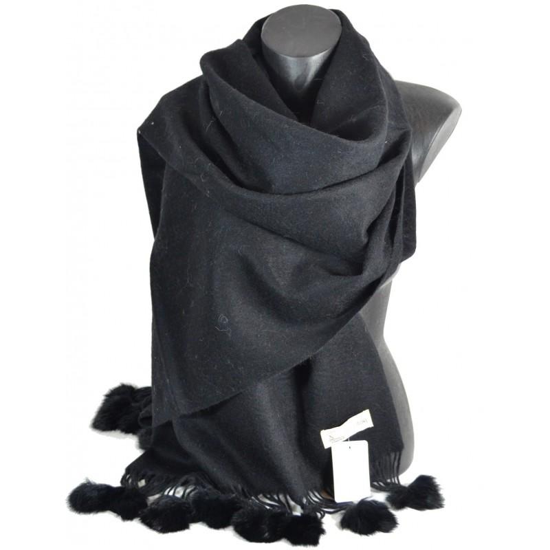Etole laine avec pompon en lapin noir
