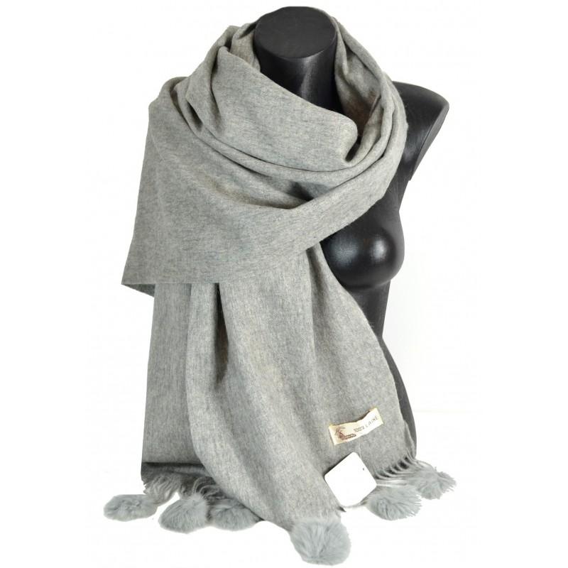 Etole laine avec pompon en lapin grise