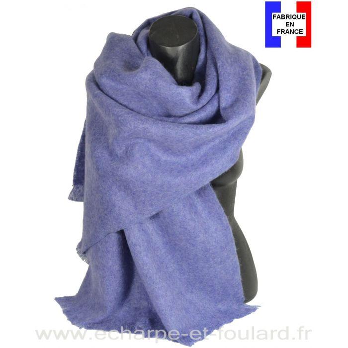 Châle mohair bleuet fabriqué en France