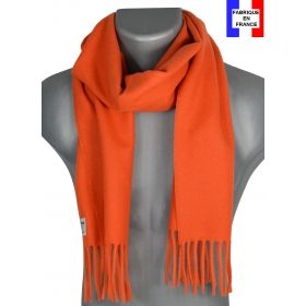 Echarpe unie en laine Zoé orange