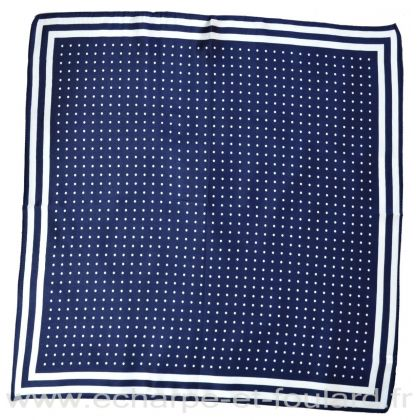Carré soie 50cm bleu pois blancs
