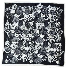Carré soie 50cm noir fleurs blanches