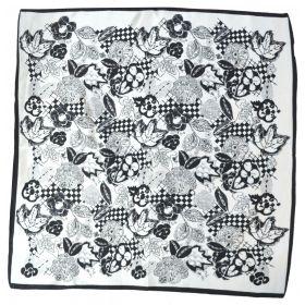 Carré soie 50cm blanc fleurs noires