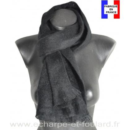 Echarpe mohair noire fabriquée en France