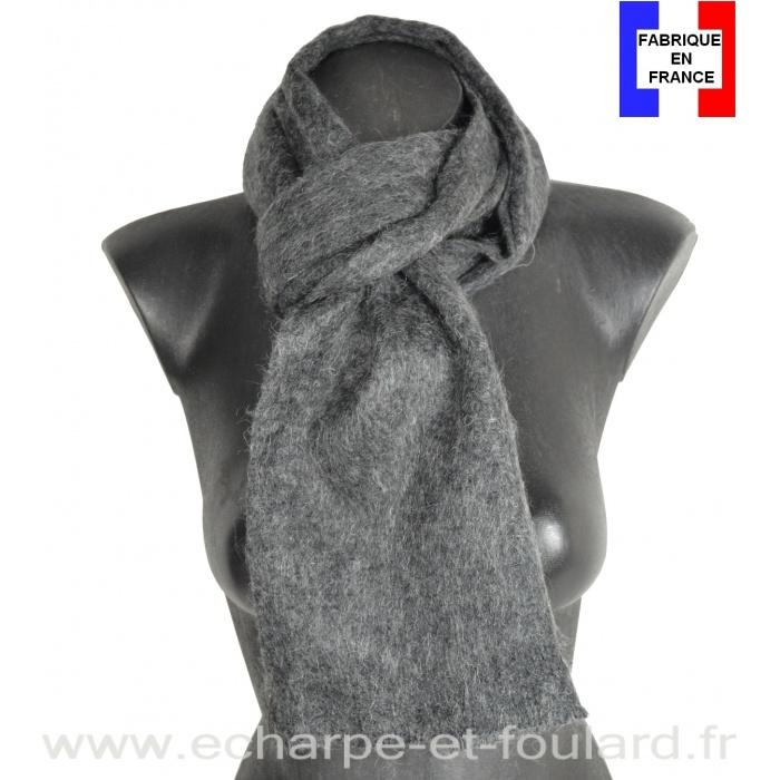 Echarpe mohair gris foncé fabriquée en France