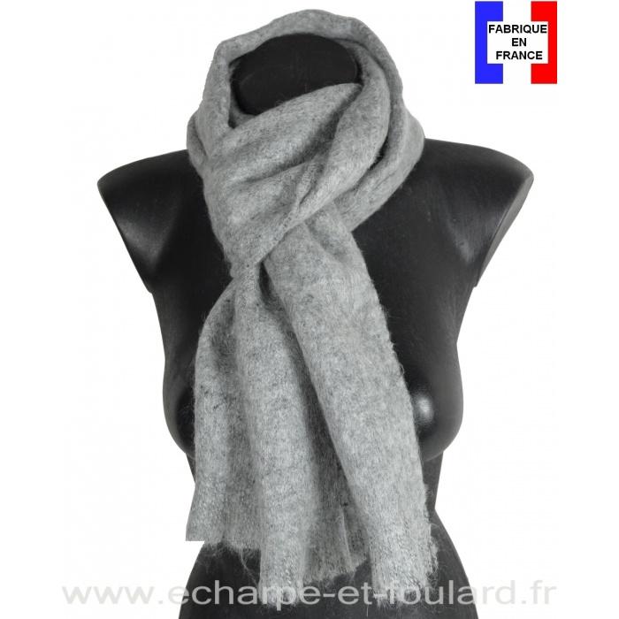 Echarpe mohair grise fabriquée en France