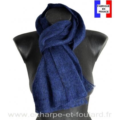 Echarpe mohair bleu marine fabriquée en France