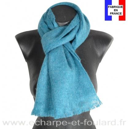 Echarpe mohair turquoise foncé fabriquée en France