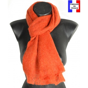 Echarpe mohair orange fabriquée en France