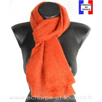 Echarpe mohair orange fabriquée en France
