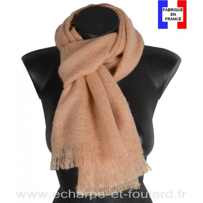 Echarpe mohair rose clair fabriquée en France