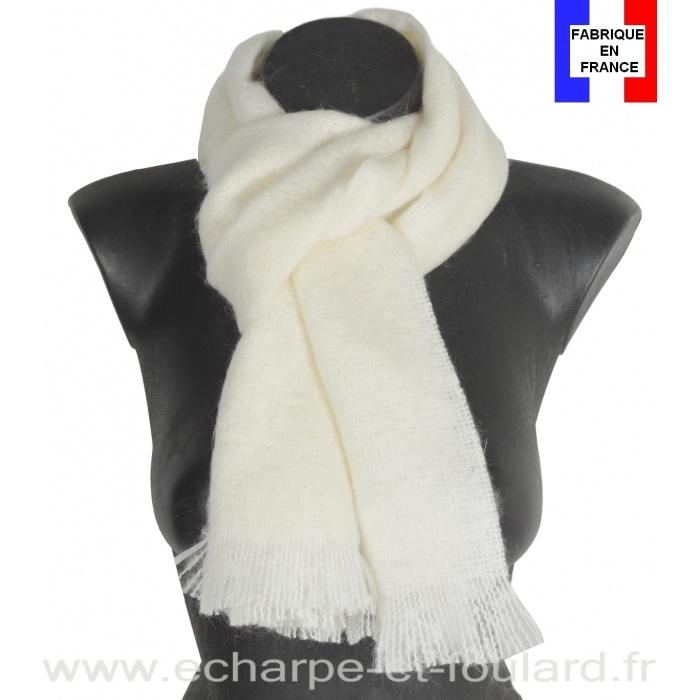 Echarpe mohair blanche fabriquée en France