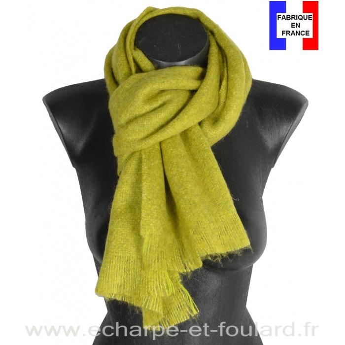 Echarpe mohair anis fabriquée en France