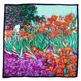 "Carré soie ""Les iris"" Van Gogh - vert"