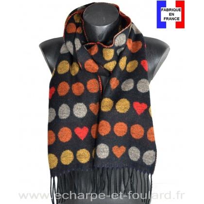 Echarpe cashcryl Coeurs noire-orange made in France