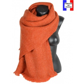 Châle mohair orange fabriqué en France