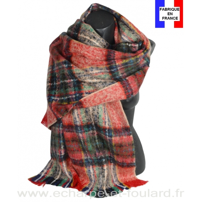 Châle mohair écossais rouge et vert fabriqué en France