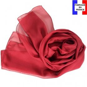 Foulard mousseline soie bordeaux fabriqué en France