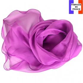 Foulard soie rose foncé bords ondulés fabriqué en France