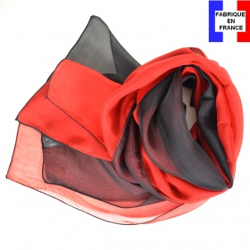 Foulard soie bicolore rouge et noir fabriqué en France
