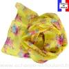 Foulard soie Bouquet jaune fabriqué en France