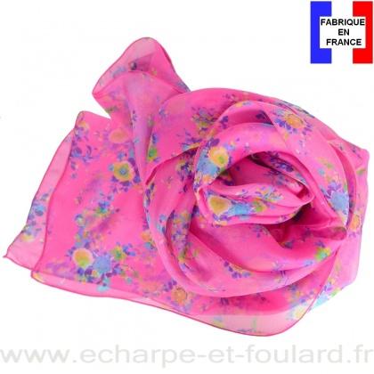 Foulard soie Bouquet rose fabriqué en France