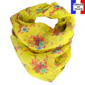 Carré de soie Bouquet jaune fabriqué en France