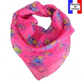Carré de soie Bouquet rose fabriqué en France