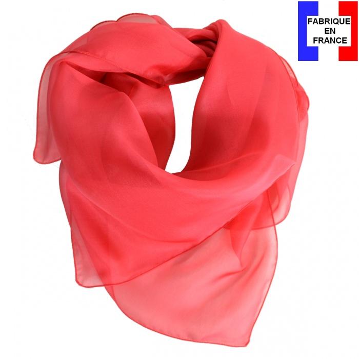 Carré mousseline rose corail fabriqué en France
