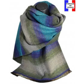Châle laine-acrylique Osmose bleu