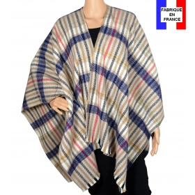Poncho laine Elixir beige made in France