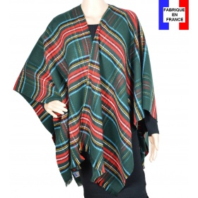 Poncho fin Entracte vert made in France
