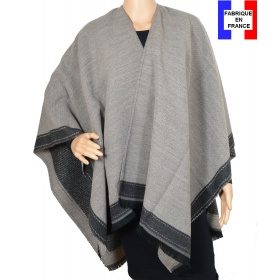 Poncho taupe et gris Aria made in France